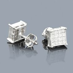 These 14K Gold Princess Cut Diamond Earrings showcase 0.95 ctw of glistening invisibly-set diamonds. Featuring a luxurious 4 by 4 design (16 diamonds per earring) and a highly polished gold finish, these diamond stud earrings are available in 14K white, yellow and rose gold.