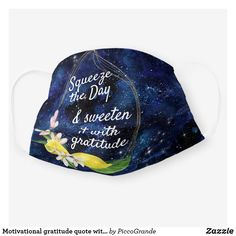 Motivational gratitude quote with lemon in galaxy cloth face mask Mouth Mask Fashion, Mask Online, Gratitude Quotes, Galaxy Art, Uk Fashion, Easy To Use, Mask For Kids, Travel Accessories, Sensitive Skin