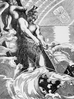 2.2 >  The Maori demigod Maui catches a fish, which transforms into the North Island of New Zealand, Te-Ika-a-Maui. © Wilhelm Dittmer, 1866–1909, Te Tohunga. London, Routledge, 1907/