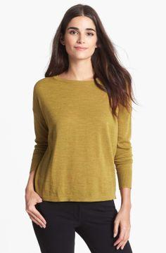 Eileen Fisher - Yellow Fine Merino Jersey Boat Neck Top Boat Neck Tops, Eileen Fisher, Cool Style, Nordstrom, Pullover, Knitting, Yellow, Sweatshirts, Sweaters