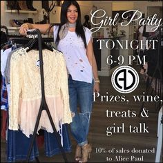 5 more hours until our Alice Paul x Alicia DiMichele Boutique girl party!  10% of sales tonight will go to Alice Paul Foundation a foundation that teaches young girls the importance of womanhood & standing together.  Come party with us tonight!  SHOP: http://ift.tt/1rNgIir
