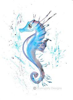 Seahorse watercolour PRINT, Seahorse, watercolour painting, watercolour animal print, Seahorse illustration, Seahorse art print,