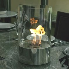 Have to have it. Accenda Tabletop Fireplace Tempered Clear Glass Polished Stainless $169