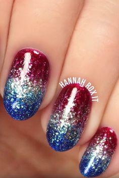 patriotic nails — Fourth of July Nails July 4th Nails Designs, Nail Art Designs, 4th Of July Nails, 4th Of July Makeup, French Nails, Holiday Nails, Christmas Nails, Hair And Nails, My Nails