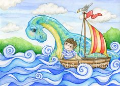 """Kids wall art, boy and boat, sail boat painting, loch ness monster, dinosaur painting, boys room art, """"The Boy and his Waterhorse"""" art print by Wishsongdesign on Etsy https://www.etsy.com/listing/91480320/kids-wall-art-boy-and-boat-sail-boat"""
