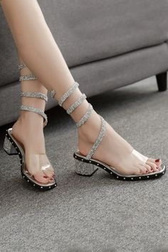 15c21d6b768 Women Silver Rhinestone Studded Strappy Clear Chunky Sandals - 5