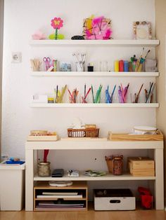Our creative corner for 2 children – Why the way is the goal and why we do not praise our children – Montessori zu Hause I Montessori Home - Baby Room Ikea Kids, Painting Corner, House Painting, Montessori Blog, 2 Kind, Baby Zimmer, Paint Supplies, Kids Corner, Nursery Inspiration