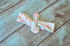 Coral & Mint Floral Knot Headband Top Knot by DimpledCutieCreation
