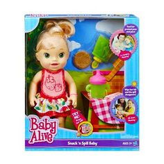 Baby Alive Snack 'n Spill Baby [Blonde] Baby Alive Doll Clothes, Baby Doll Toys, Baby Alive Dolls, Newborn Baby Dolls, Baby Life, Toys For Girls, Kids Toys, Baby Doll Diaper Bag, 18th Birthday Party Themes