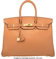"""Hermes 35cm Gold Courchevel Leather Birkin Bag with Gold Hardware.F Square, 2002. Excellent Condition. 14"""" Width x 10"""" He..."""