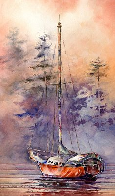 """Morning at Jarrell's Cove"" - Watercolor by Michael David Sorensen www.MichaelDavidSorensen.com"