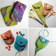 Easy DIY Felt Crafts, Felt Crafts Patterns and American Felt And Craft Coupon. Wet Felting Projects, Needle Felting Tutorials, Felt Projects, Needle Felted, Nuno Felting, Easy Felt Crafts, Simple Crafts, Clay Crafts, Felt Crafts Patterns