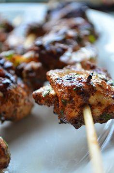 Morrocan chicken kebabs.