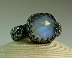 Cushion Cut Moonstone Ring, Sterling Silver, Blue Rainbow Stone, Natural Faceted Gemstone, Handmade Jewelry, made to order on Etsy, $85.00