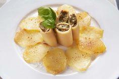 Paccheri al tonno e patate gratinate al parmigiano reggiano