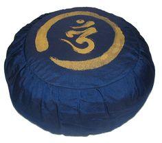 Calligraphy Zafus -- Zen circle with Sanskrit Om meditation cushion