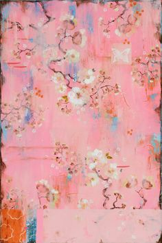 Kathe Fraga Art, www.kathefraga.com Kathe's paintings are inspired by the romance of vintage French wallpapers and Chinoiserie with a modern twist. 36x24 on frescoed canvas.