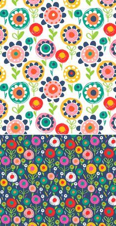 Flower patterns by Wendy Kendall Kids Patterns, Pretty Patterns, Flower Patterns, Surface Pattern Design, Pattern Art, Pattern Paper, Pattern Designs, Motifs Textiles, Textile Patterns