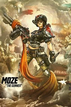 Moze The Gunner Wallpaper by DangerSchone - Borderlands Series, Tales From The Borderlands, Fantasy World, Fantasy Art, Final Fantasy, Borderlands The Handsome Collection, Character Art, Character Design, Video Game Characters