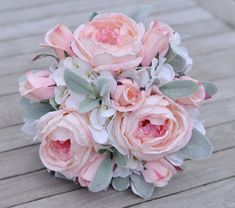 Wedding Flowers, Wedding Bouquet, Keepsake Bouquet, Bridal Bouquet made with Lambs Ear, Pink Cabbage Rose, Pink Rosebuds, & White Hydrangea.