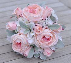 Wedding Flowers, Wedding Bouquet, Keepsake Bouquet, Bridal Bouquet made with Lambs Ear, Pink Cabbage Rose, Pink Rosebuds, & White Hydrangea.