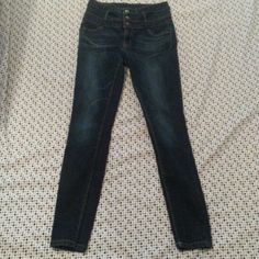 High Waisted Jeans Skinny jeans, size 6. High waisted, stretchy. EUC. Dark wash  with fading through out. No rips, stains, snags, or piling. Perfect to dress up with a boyfriend blazer and heels, or dress it down with a hoodie and some comfortable sneakers. refuge Jeans Skinny