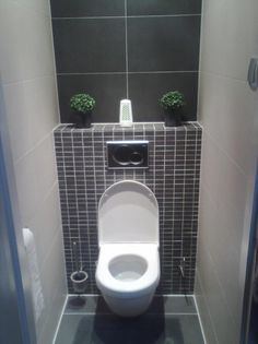 toilet cistern in wall with shelf above Toilet Tiles, Wall Hung Toilet, Toilet Room, Clockroom Toilet, Hidden Toilet, Small Toilet, Cloakroom Toilet Downstairs Loo, Small Bathroom, Understairs Toilet