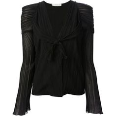 Chloe Crepe du Chine Black Plisse Blouse ($800) ❤ liked on Polyvore featuring tops, blouses, black, long sleeve tops, long sleeve blouse, v neck blouse, black top and ruched blouse