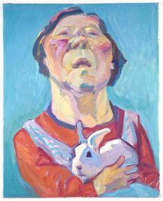 Selbstportrait mit Hasen (selfportrait with rabbit) Maria Lassnig, Austrian, 1919-2014