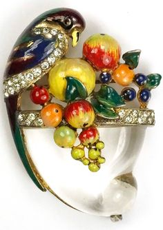 Corocraft Sterling Parrot Perching on a Jelly Belly Cornucopia of Fruit Pin