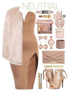 """Nudish Gold"" by celeste-menezes ❤ liked on Polyvore featuring Sans Souci, Marchesa, Dorothy Perkins, Dyrberg/Kern, Valentino, Michael Kors, Jouer, Urban Decay, Viktor & Rolf and Maybelline"