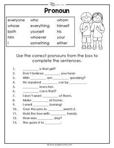 Pronouns Worksheet 3 Complete the sentences by using the correct pronouns from the box. This resource comes with a single user license and may not be reproduced, resold, redistributed or altered in any form. Parts Of Speech Worksheets, Pronoun Worksheets, Adjective Worksheet, English Worksheets For Kids, 2nd Grade Worksheets, Reading Comprehension Worksheets, Adjectives Activities, Teaching Synonyms, Super Worksheets