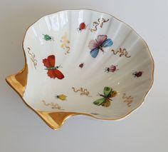 Ardalt Lenwile porcelain shell trinket dish butterflies and beetles gold trim #Ardalt