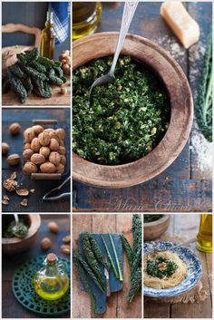 Pesto de Cavolo Nero (Chou Noir Toscan)  ♥ Végétarien ♥ IG Bas ♥ Sans oeufs ♥ Variante sans lait ♥ Le Chou Kale, Chou Romanesco, Succulents, Favorite Recipes, Healthy Recipes, Orange, Plants, Planning, Food