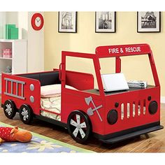 Metal Finish Fire Truck Design Youth Twin Size Bed Frame ... http://www.amazon.com/dp/B00OKVAAV4/ref=cm_sw_r_pi_dp_.4Uvxb0WY2DSQ