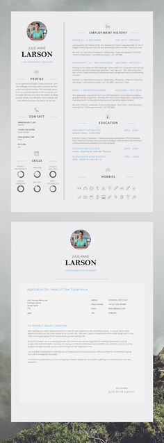 Super Slick Single Page CV Template with Photo and Cover Letter | #Resume…