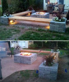 Build a patio bench from wooden pillars and cinder blocks, which comes with cute lighting and planters.