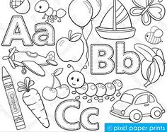 Alphabet Digital Stamps Part 1 - ABC clip art - School clipart from Pixel Paper Prints Alphabet A, School Clipart, Arts And Crafts, Paper Crafts, Clip Art, Colouring Pages, Digital Stamps, Art School, Art Images