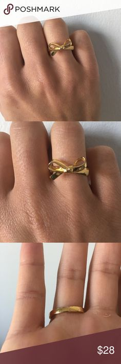 Kate Spade Bow Ring (Size 6) Kate Spade gold bow ring (NOT the outlet version!) in very good condition. Only sign of wear is slight tarnishing on the back (the part that's under your hand) as seen in photos. Size 6. No trades. Reasonable offers only! kate spade Jewelry Rings