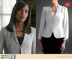 Olivia's white single button jacket on Scandal.  Outfit Details: http://wornontv.net/38548/ #Scandal