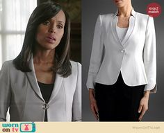Olivia's white single button jacket on Scandal.  Outfit Details: http://wornontv.net/38548/ #Scandal