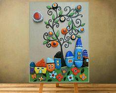 Hand painted Pebble Art , House art, Stone Art, Pebble Art Family, Home Decor, Gift For him, Wall Art, Painted Pebbles, Pebble art, 3d art