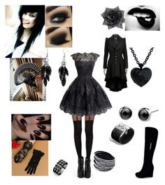 """Black"" by frostbiten ❤ liked on Polyvore featuring Pamela Mann, Sourpuss, John Hardy, Waterford and Alexa Starr"
