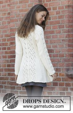 Free Knitting Pattern for a Fitted Lace Jacket – Ice Dancer. Skill Level: Intermediate Knitted fitted jacket in DROPS Lima. Piece is knitted back and forth from mid front with lace pattern, cables and shawl collar. Free Pattern More Patterns Like This! Ladies Cardigan Knitting Patterns, Knit Cardigan Pattern, Knitting Machine Patterns, Jacket Pattern, Drops Design, Magazine Drops, Lace Jacket, Lace Patterns, Cardigans For Women