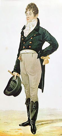 1805 caricature of Beau Brummell, trendsetter, friend of the English prince. [Directoire] HESSIAN BOOTS, CRAVAT, Waistcoat