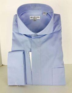 f65744c57ef Men s Powder Blue Dress Shirt Cutaway Collar French Cuffs Modena Sizes  15.5-20