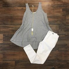 Free Lovin Waffle Knit High Low Tank Top - Gray
