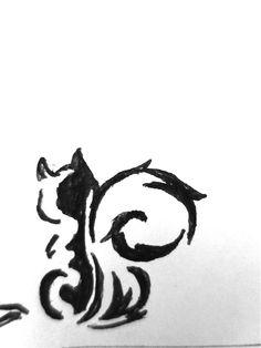 Squirrel outline tattoo