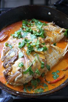 Fish Head Curry is a curry dish popular in the Malaysian and Singaporean cuisine, it is usually made out of large red snapper head cooked in a Kerala-style curry together with okra, eggplants and tomatoes. Curry Recipes, Fish Recipes, Seafood Recipes, Indian Food Recipes, Asian Recipes, Cooking Recipes, Healthy Recipes, Ethnic Recipes, Claypot Recipes