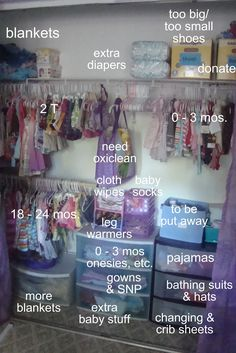 organized baby closet but nicer shelving
